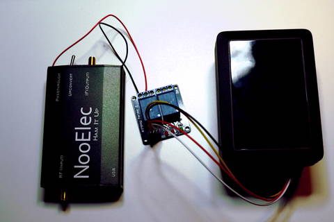 Final result with enclosures for the upconverter and Raspberry Pi