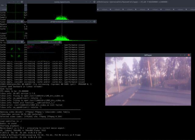 leandvb software receiving DVB-S1 transmission