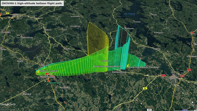 The predicted (yellow) and the actual flight path (cyan)